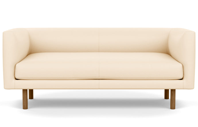 Replay Leather Club Loveseat by EQ3 - Sauve Canvas Leather, Walnut Legs.