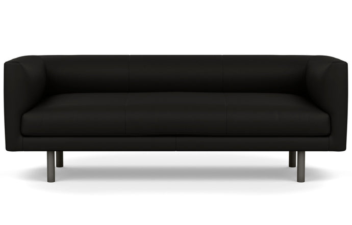 Replay Leather Club Sofa by EQ3 - Fino Black Leather, Anthracite Legs.