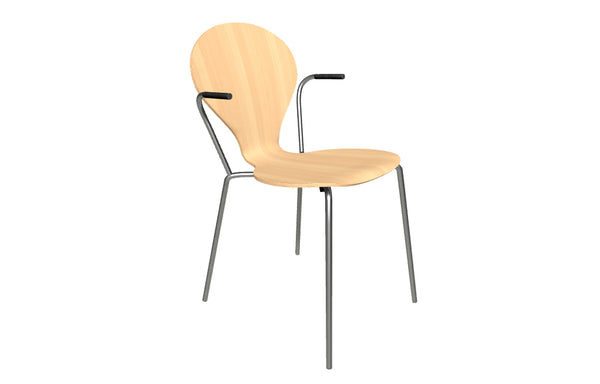 Rondo Arm Chair by Askman - Stainless Steel, Lacquered Beech