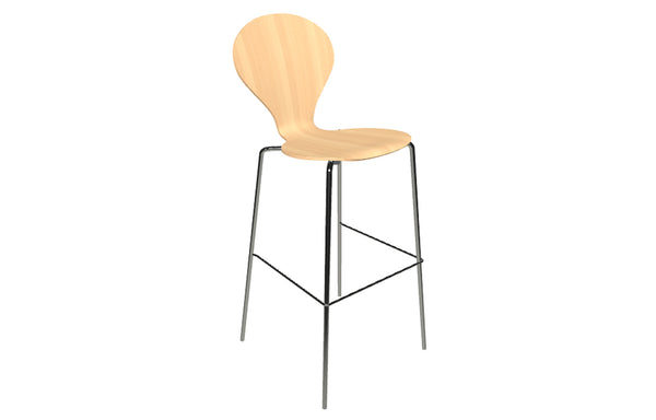 Rondo Bar Chair by Askman - Chrome, Lacquered Beech