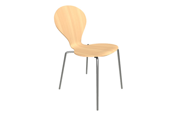 Rondo Chair by Askman - Stainless Steel, Lacquered Beech