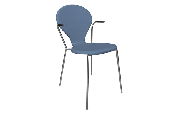 Rondo Fully Upholstered Chair by Askman - Stainless Steel, Lacquered Beech, Grade 1