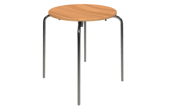 Rondo Kids Stool by Askman - Chrome, Lacquered Beech