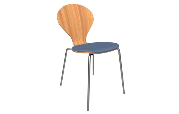 Rondo Upholstered Seat Chair by Askman - Stainless Steel, Lacquered Beech, Camira-Xtreme-YS004 Grade 1
