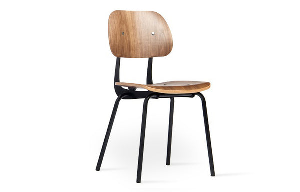 Saba Dining Chair by SohoConcept - Matte Black Frame With Plywood Walnut Veneer Seat+Back