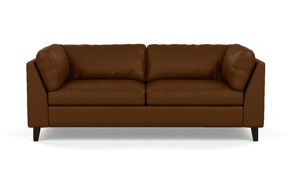 Salema Leather Apartment Sofa by EQ3 - Onyx Leg, Sauve Amaretto Leather.