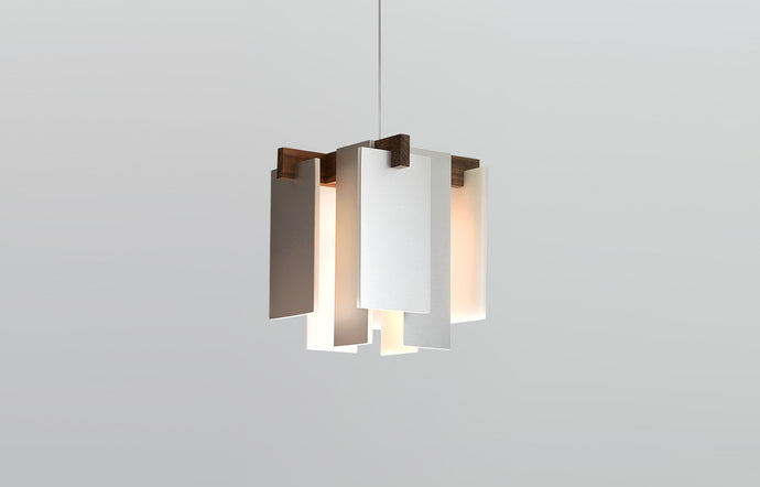 Salix LED Accent Pendant by Cerno - Walnut Wood/Brushed Aluminum Metal.