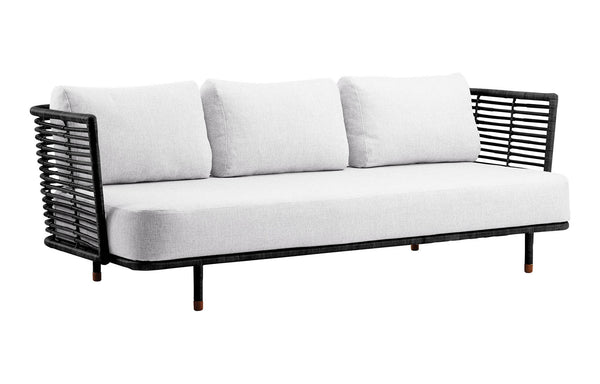 Sense Indoor 3-seater Sofa by Cane-Line - Black Rattan Frame, White Natte Cushion Set.