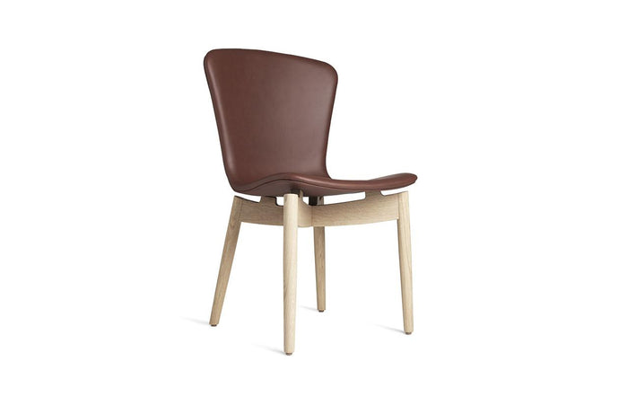 Shell Dining Chair by Mater - Matt Lacquered Oak Frame, Ultra Cognac Leather Seat.