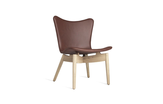 Shell Lounge Chair by Mater - Matt Lacquered Oak Frame, Ultra Cognac Leather Seat.