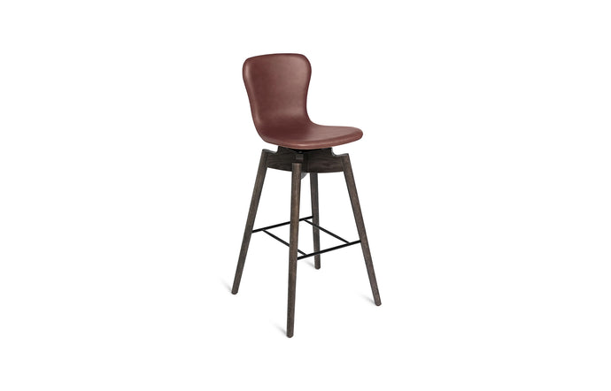 Shell Bar Stool by Mater - Ultra Cognac Leather Upholstery.