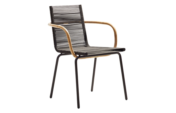 Sidd Stackable Dining Armchair by Cane-Line - Brown Rope.