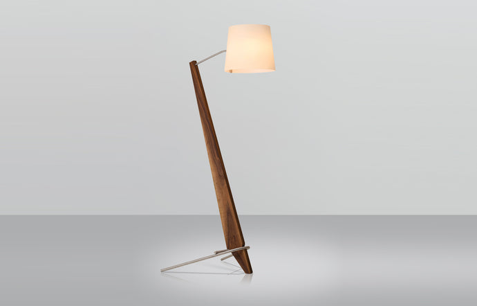 Silva Giant Floor Lamp by Cerno - Walnut Wood + Brushed Aluminum Metal.
