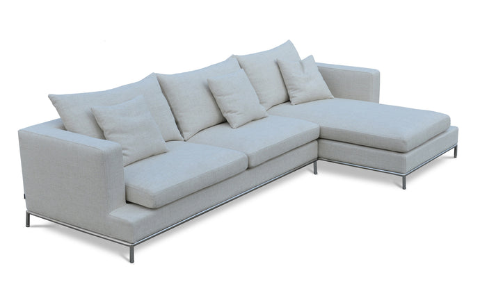 Simena Sectional Sofa by SohoConcept - Right Hand Face, Cream Tweed Fabric