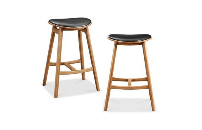 Skol Upholstered Leather Seat Stool by Greenington - Caramelized Wood.