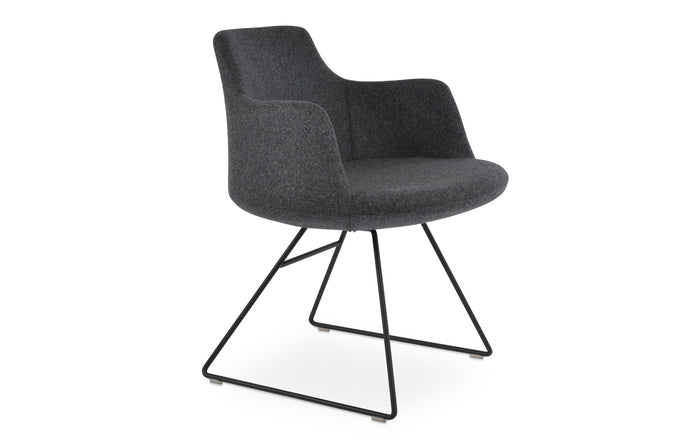 Dervish Wire Chair by SohoConcept, showing angle view in camira blazer dark grey wool with black powder wire base.