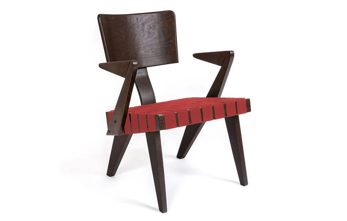 Spanner Lounge Chair with Arms by Gus Modern - Dark Birch/Red Woven.