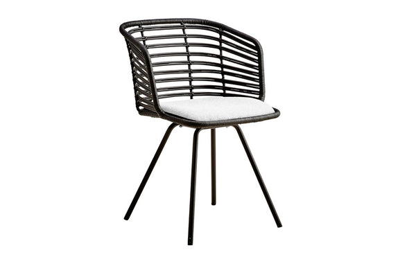 Spin Indoor Dining Chair by Cane-Line - Black Rattan, White Natte Cushion.