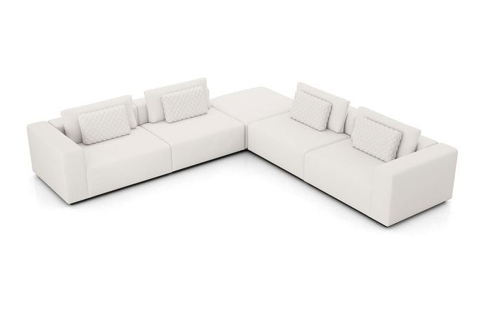 Spruce L Sectional Sofa by Modloft - Chalk Fabric.