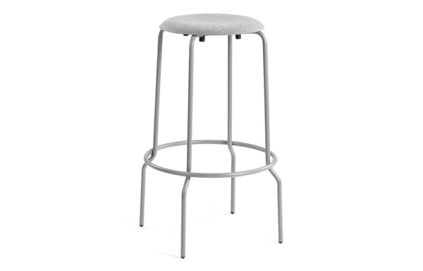 Stacker Bar Stool by m.a.d. - Grey Steel base with Grey Fabric Seat.