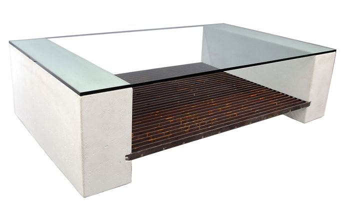 James De Wulf Steel Grating Coffee Table by De Wulf - White Concrete.