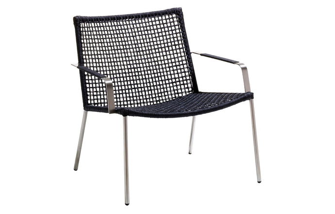 Straw Weave Lounge Chair by Cane-Line - Black Round Weave, No Cushion.
