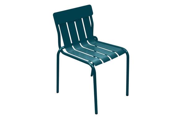 Stripe Side Chair by Fermob - Acapulco Blue (matte textured)