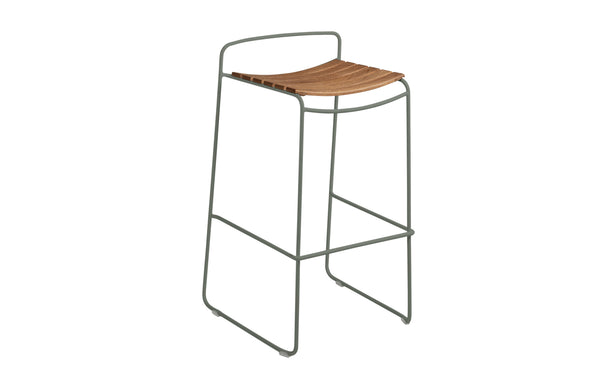 Surprising Teak Bar Stool by Fermob - Rosemary (matte textured)
