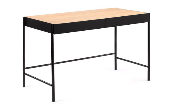 Surround Desk by m.a.d. - Black Steel Base/Natural Ash Wood.