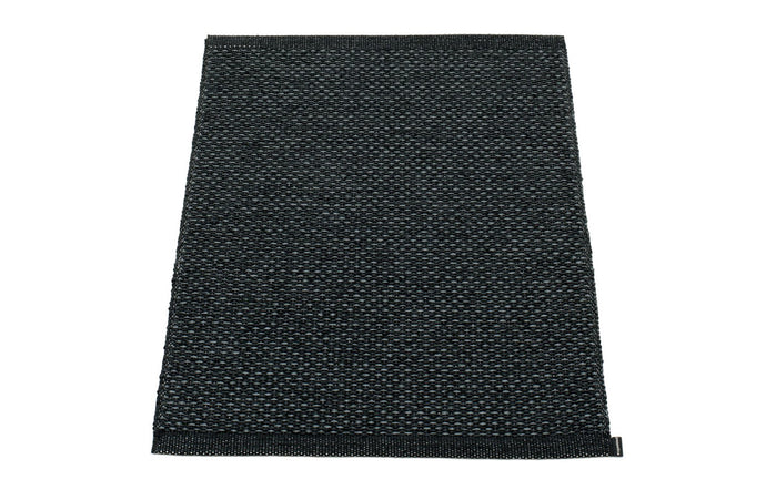 Svea Metallic Black & Black Runner Rug by Pappelina - 24