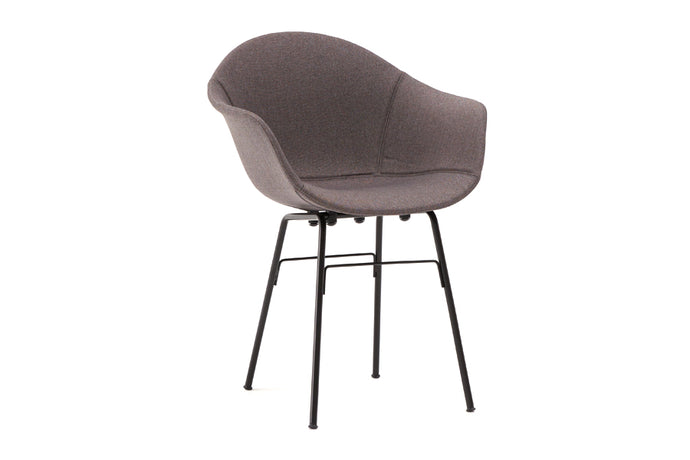 TA Upholstered Armchair Er by Toou - TA - Black, TA Shell - Dark Grey.