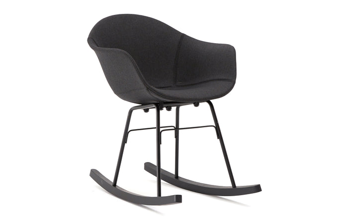 TA Upholstered Rocking Chair by Toou - TA - Black/Black Oak, TA Shell - Black.