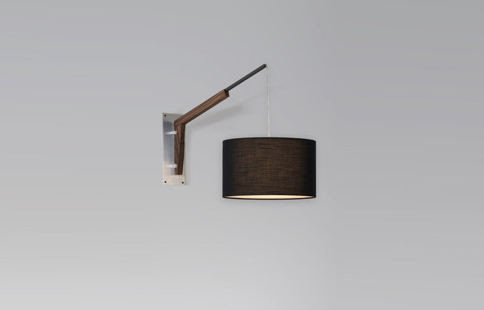 Talea Sconce by Cerno - Brushed Aluminum Metal, Walnut Wood, Black Amaretto Shade.