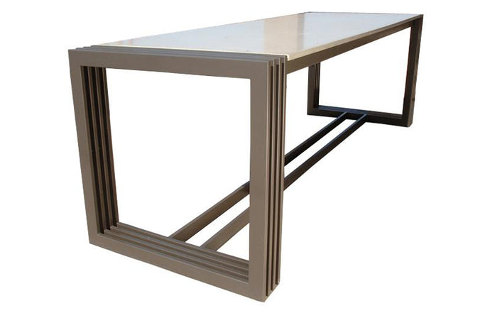 James De Wulf Tall Engagement Dining Table by De Wulf - Concrete and Powder Coated Steel.