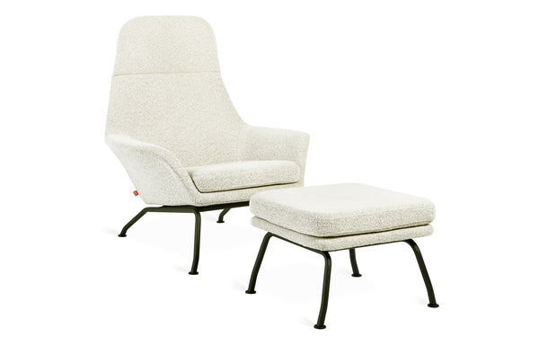 Tallinn Chair and Ottoman by Gus Modern - Copenhagen Fossil Fabric.