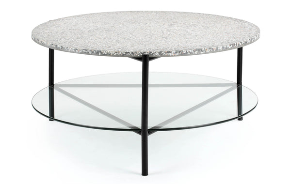 Terrazzo Coffee Table by m.a.d. - Black Steel Base with Glass/Grey Terrazzo Top.