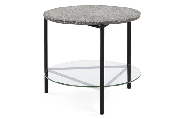 Terrazzo Indoor Side Table by m.a.d. - Black Steel Base with Glass/Grey Terrazzo Top.
