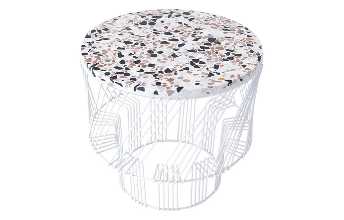 Terrazzo Side Table by Bend - White