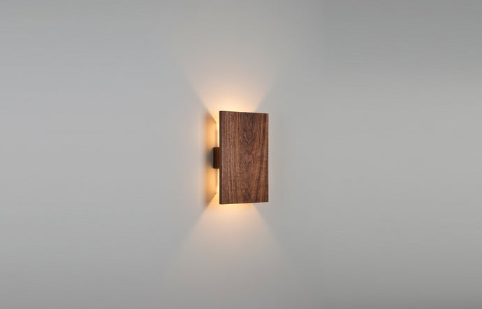 Tersus LED Sconce by Cerno - Walnut Wood, No Face Material.