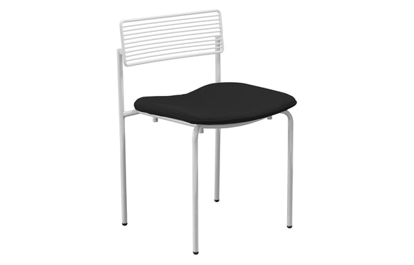 The Rachel Chair with Seatpad by Bend - White Metal Frame, Black Sunbrella Seatpad.