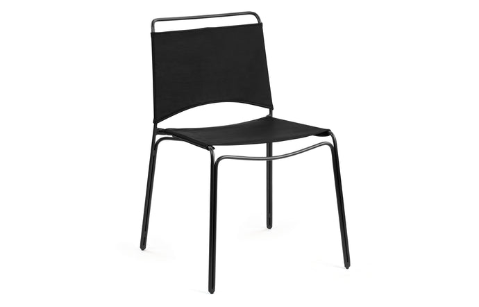 Trace Dining Chair by m.a.d. - Black Steel Base with Black Leather Seat.