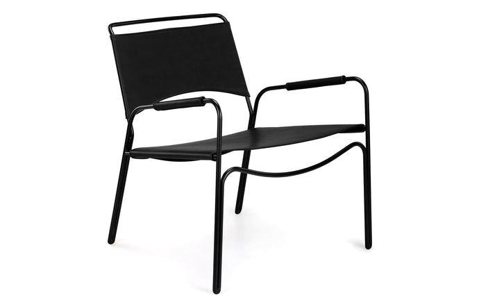 Trace Lounge Chair by m.a.d. - Black Steel Base with Black Leather Seat.