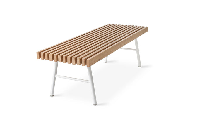 Transit Bench by Gus Modern - White Powder Coat/Natural Ash.