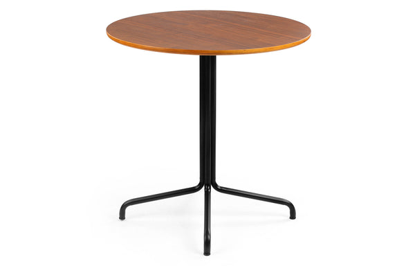 Transit Cafe Table by m.a.d. - Black Steel Base with Walnut Wood Seat.