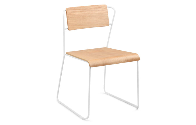 Transit Dining Chair by m.a.d. - White Steel Base with Natural Ash Wood Seat.