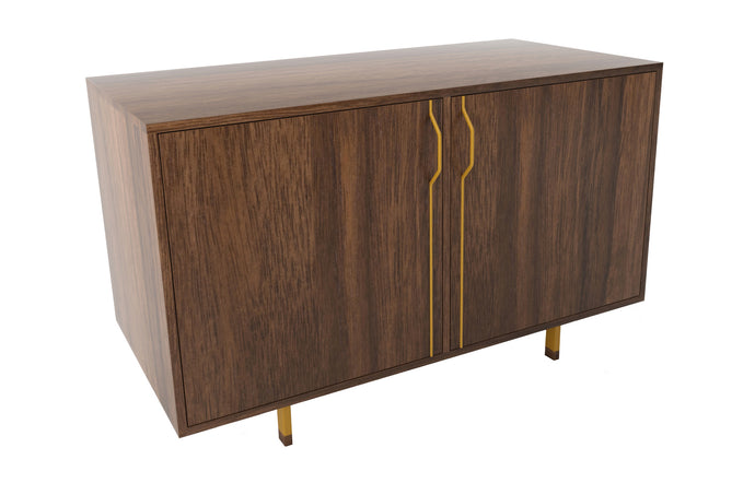 Chapman Double Unit Storage Cabinet by Tronk Design - Walnut Wood, Mustard Powder Coated Steel.