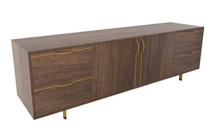Chapman Large Credenza Storage Unit by Tronk Design - Walnut Wood, Mustard Powder Coated Steel.
