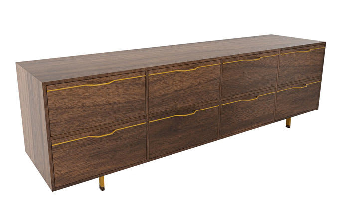 Chapman Long Dresser Credenza by Tronk Design - Walnut Wood, Mustard Powder Coated Steel.