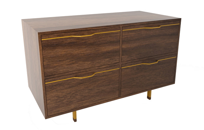 Chapman Small Storage Dresser Cabinet by Tronk Design - Walnut Wood, Mustard Powder Coated Steel.