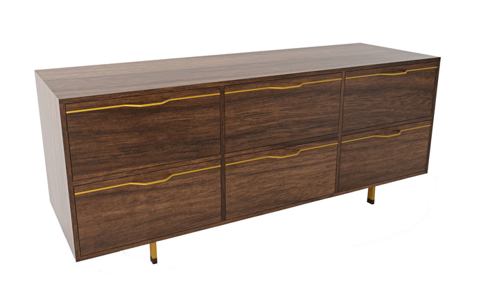 Chapman Storage Dresser Credenza by Tronk Design - Walnut Wood, Mustard Powder Coated Steel.
